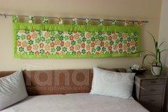 Kapsář - Zelený - kytičky zelené a žlotooranž