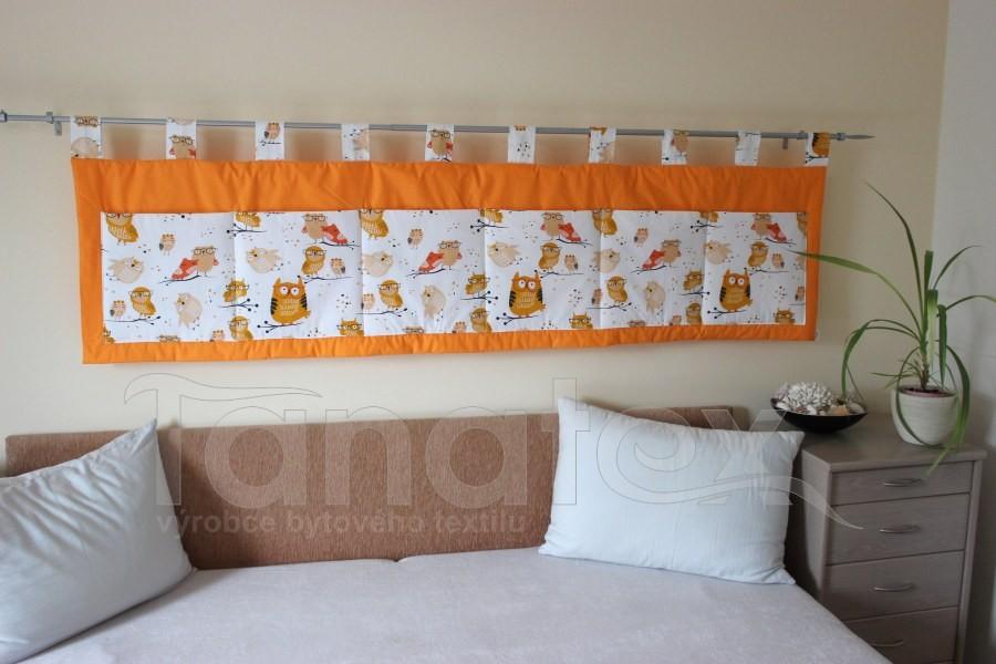 Kapsář - Oranžový - sovičky - velký