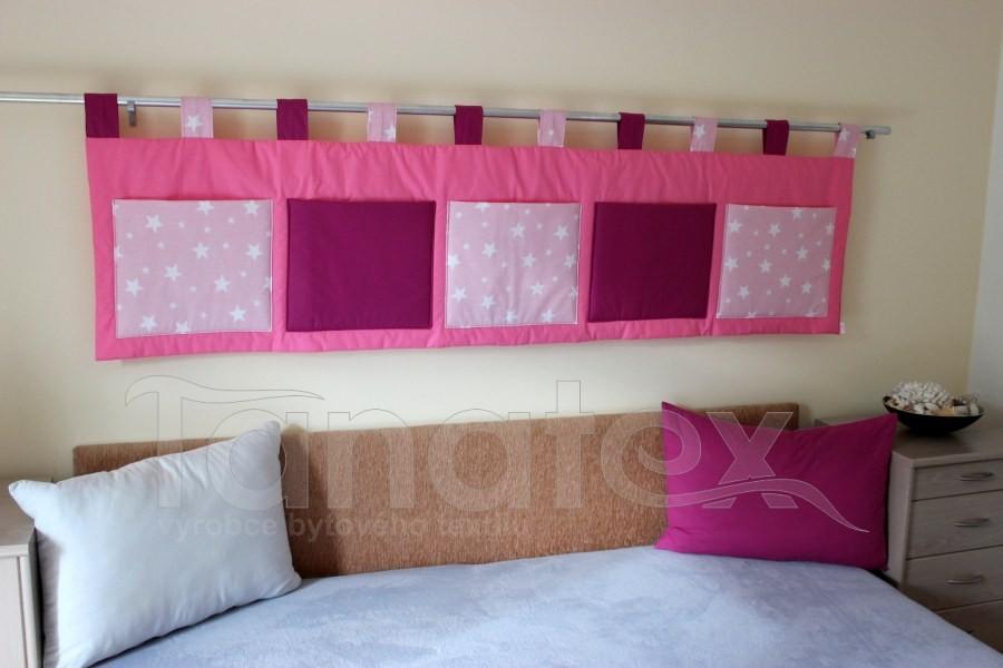 Kapsář - Růžový - fuchsiové kapsy a hvězdičky na růžové - velký