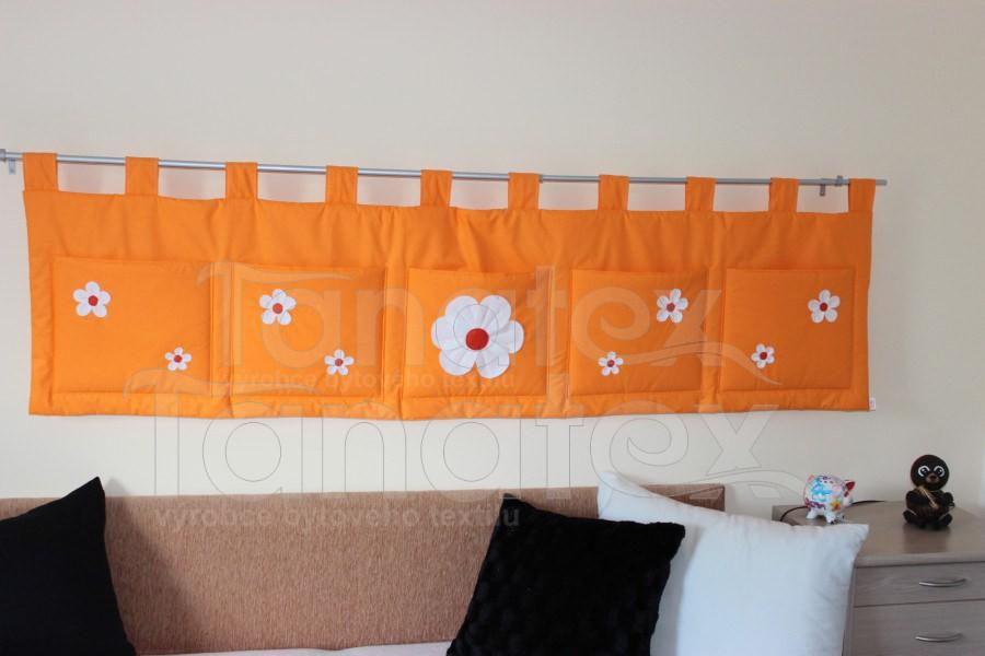 Kapsář - Uni oranž s kytičkama - velký