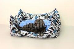 Lodička modré květy v pruzích Pelíšky pro psy - Pelechy - Lehká podložka - Lodička