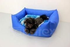 Obdelníček malý - kočárkovina uni modrá - vzorovaný polštář Pelíšky pro psy - Pelechy - Obdelníček