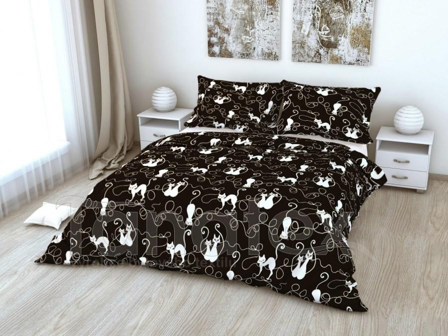 Povlečení Kočky na černém 200x200 - 200x200