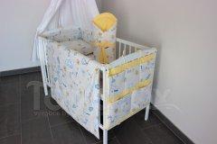 5 ti dílná sada Čáp s miminkem se žlutou Pro děti - Polštářek pro miminko - Zvýhodněné sady pro miminko