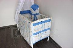 Kapsář na postýlku Čáp s miminkem - uni modrá Pro děti - Kapsář k postýlce