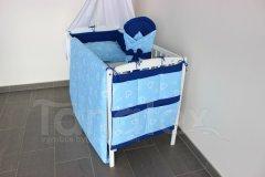 Kapsář na postýlku Srdíčka v perokresbě modrá - royal modrá Pro děti - Kapsář k postýlce