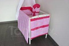 Kapsář na postýlku Srdíčka v perokresbě růžová - uni rožová Pro děti - Kapsář k postýlce
