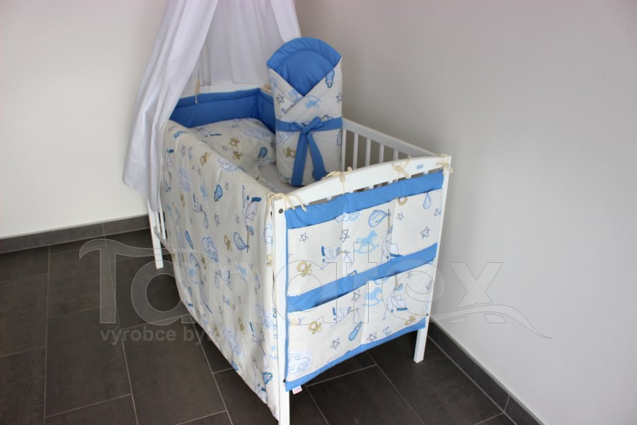 Kapsář na postýlku Čáp s miminkem - uni modrá - Kapsář k postýlce