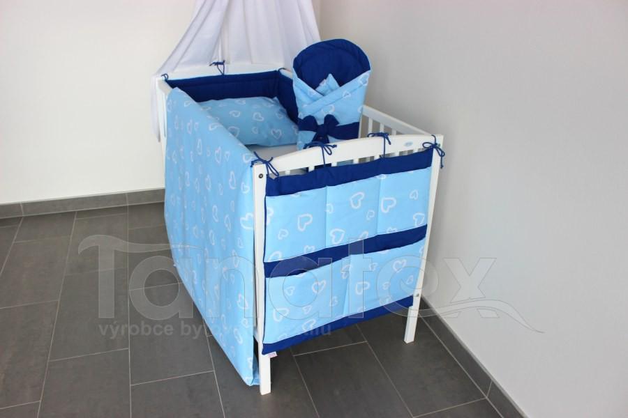 Mantinel do postýlky Srdíčka v perokresbě modrá - royal modrá - Mantinel do postýlky