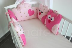 5dílný mantinel z polštářků - Sovy uni růžové - srdíčka bílá a béžová na růžové Pro děti - Mantinely a nebesa - Polštářkový mantinel - Polštářkový mantinel exclusive