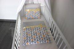 Plymo exclusive - 4dílná sada - Motýlci šedí a žlutí - šedý proužek Pro děti - Do kolébky - Plymo do kočárku