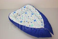 Hnízdečko Mini srdíčka modrá a mentolová - royal modrá Pro děti - Polštářek pro miminko - Hnízdečko - Hnízdečka do postýlky z bavlny