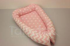 Hnízdečko Hvězdy na růžové - růžový velký cik cak Pro děti - Polštářek pro miminko - Hnízdečko - Hnízdečka do postýlky z bavlny