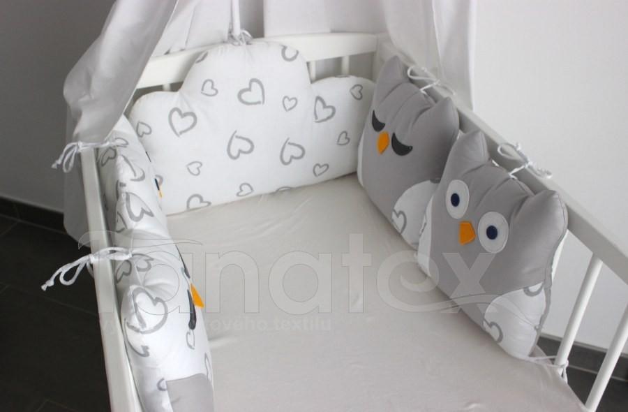 5dílný mantinel z polštářků - Sovy šedobílé
