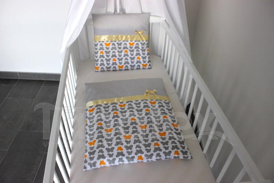 Plymo exclusive - 4dílná sada - Motýlci šedí a žlutí - šedý proužek