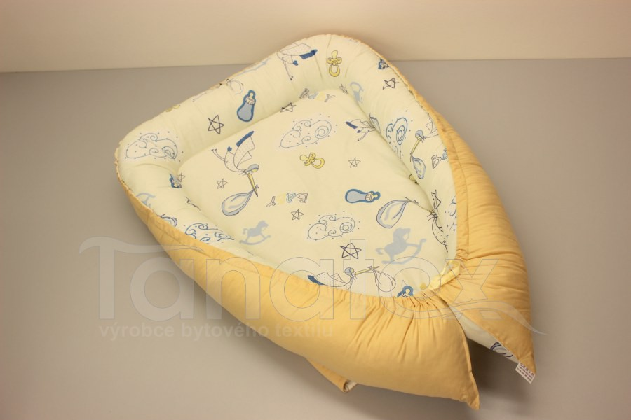 Hnízdečko Čáp s miminkem - písková - Hnízdečka do postýlky z bavlny