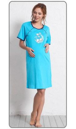 Dámská noční košile mateřská s krátkým rukávem Štěně na měsíci - Kojící noční košile s krátkým rukávem