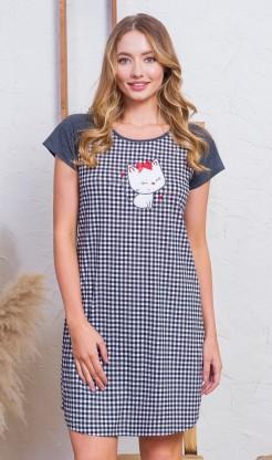 Dámská noční košile s krátkým rukávem Kotě s mašličkou