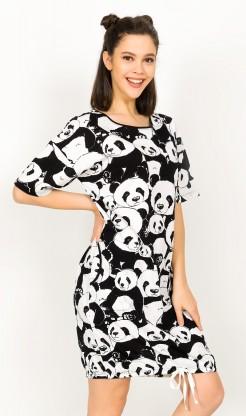 Dámské domácí šaty s krátkým rukávem Velká panda
