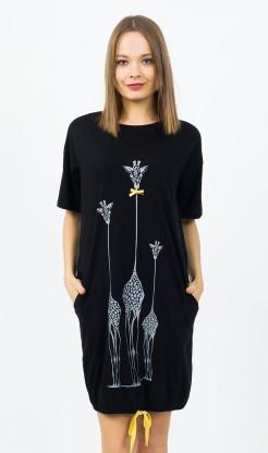 Dámské domácí šaty s krátkým rukávem Žirafy