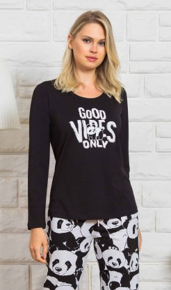 Dámské pyžamo dlouhé Good vibes - Dámská pyžama s dlouhým rukávem