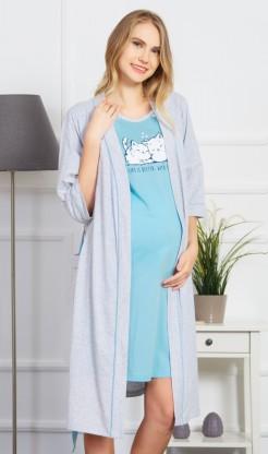 Dámský župan s mateřskou košilí Koťata - Ženy | Dámské noční košile | Kojící noční košile | Kojící noční košile s županem