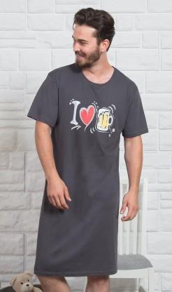 Pánská noční košile s krátkým rukávem I love beer